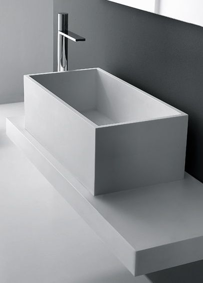 MidioPlan by Ponte Giulio | DEEP Rectangular HI-MACS® washbasin from the…