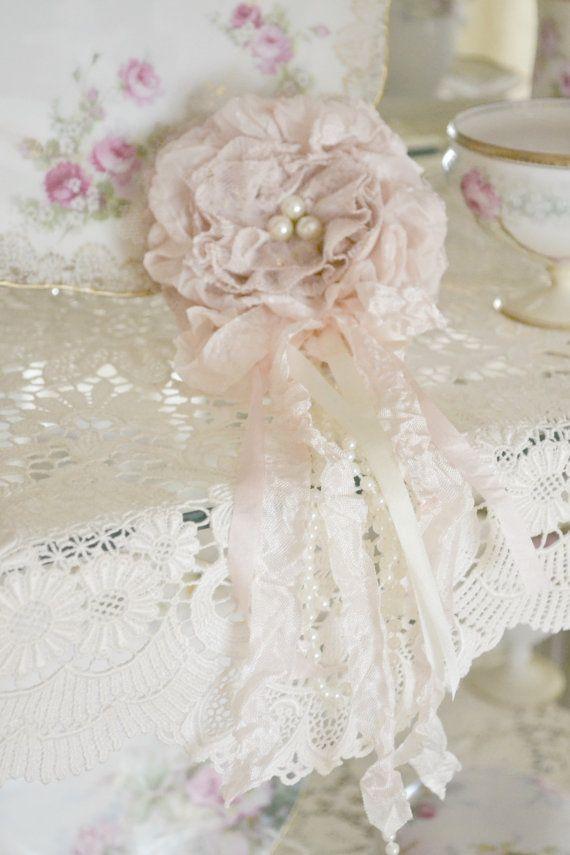 Blush Silk and Mauve Lace Gillyflower Handmade by Jenneliserose