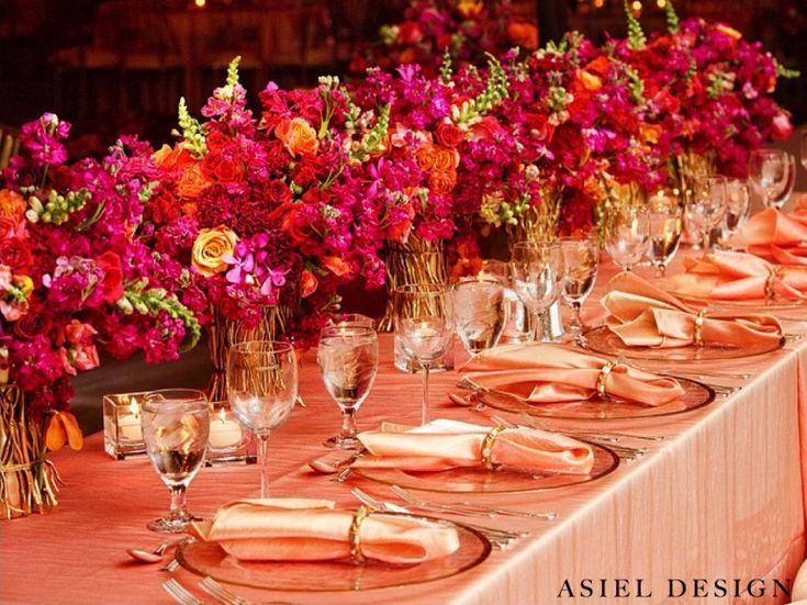 orange | magenta | red | yellow  | indian wedding | centerpiece | gold
