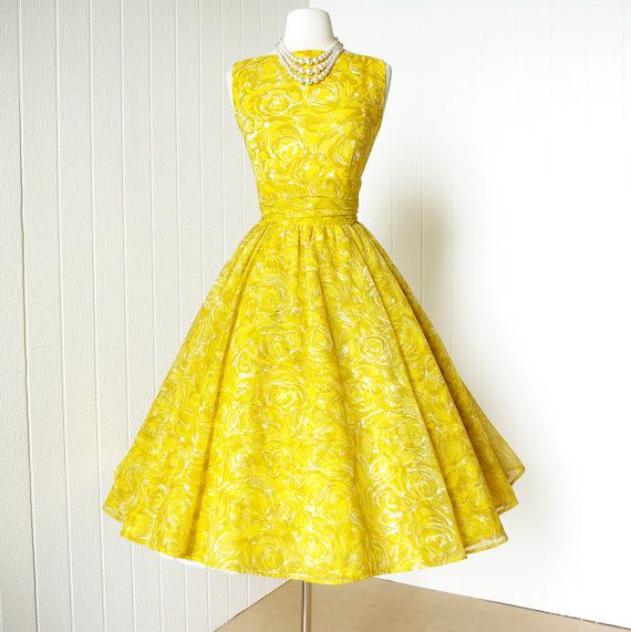 LOVE vintage 1950's dress never worn JONATHAN LOGAN yellow by traven7, $220.00