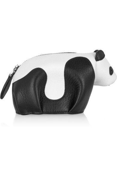 Leather panda coin purse