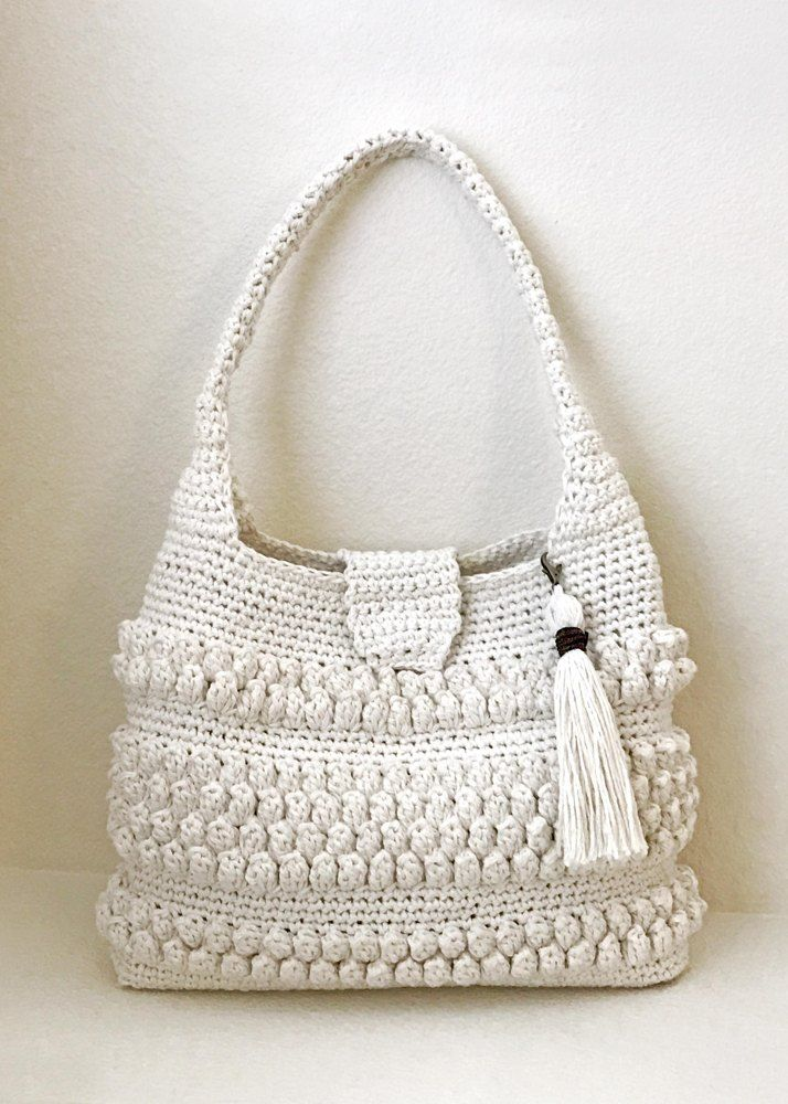 This Is A Beautiful And Easy To Make Crochet Bag The Bobbles Tassel Add Interesting Detail Pattern Looks Complicated But Simply Made With