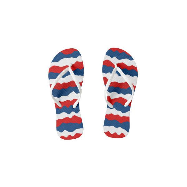 Red White And Blue Flip Flops ❤ liked on Polyvore featuring shoes, sandals, flip flops, blue white shoes, red white and blue sandals, red flip flops, red shoes and blue and white shoes