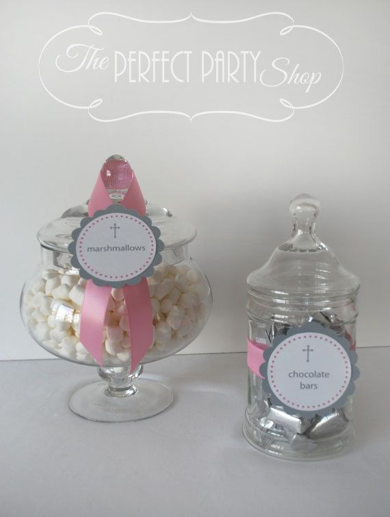 Baptism, First Communion or Confirmation Candy Jar Labels (set of 6) on Etsy, $6.00