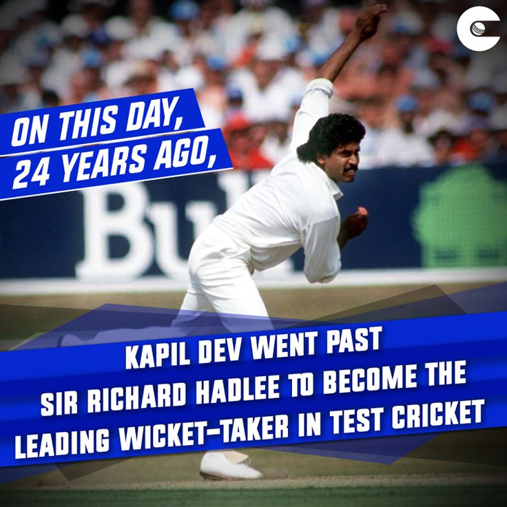 #OnThisDay: 24 years ago Kapil Dev became leading wicket taker in Test Cricket.