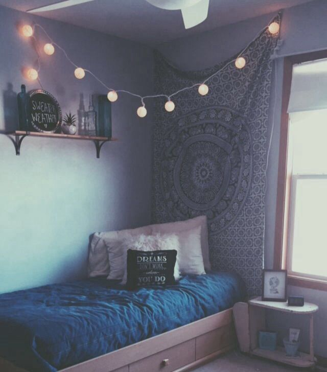 Aesthetic Bed Blue Fairylights Fashion Grunge Hipster Indie Outfit Pale Quotes Room Soft Grunge Tap Aesthetic Bedroom Hipster Room Apartment Decor