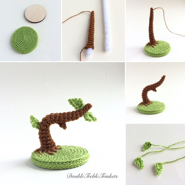 Free crochet Tree Stand pattern in US terminology - also links to a pattern for a small Owl to sit on it.
