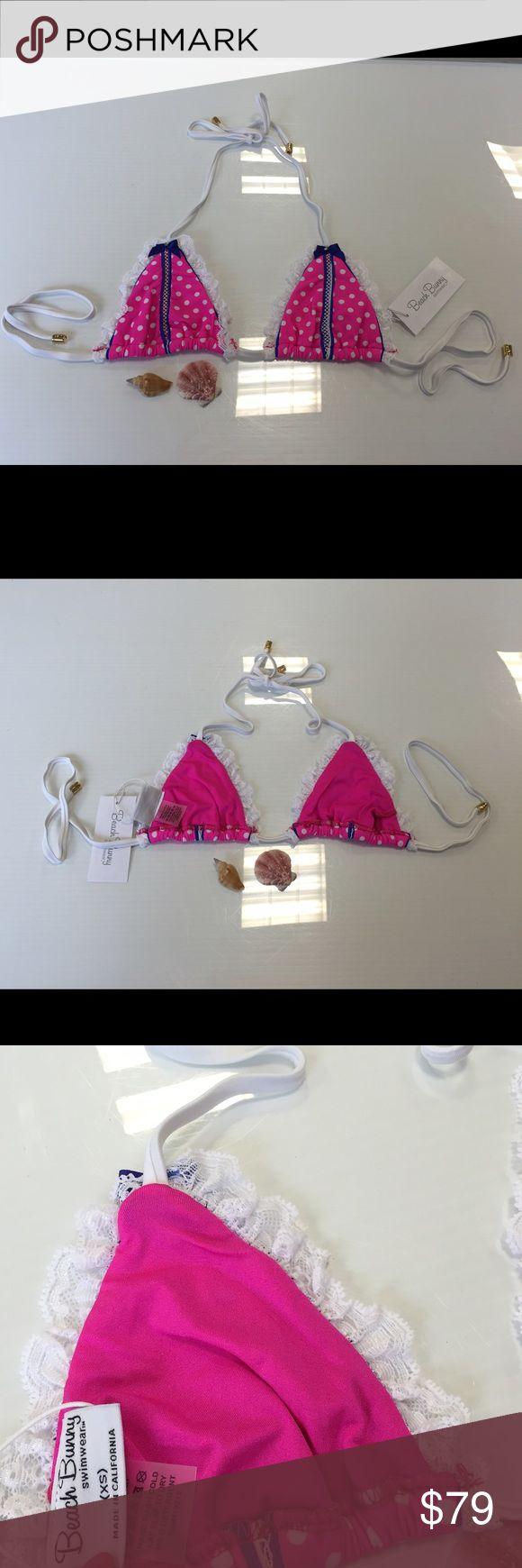 Beach bunny pink polka dot bikini top size XS new Beach bunny pink polka dot bikini top size XS new with tags Beach Bunny Swim Bikinis