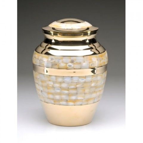 Gold Mother of Pearl Cremation Urn