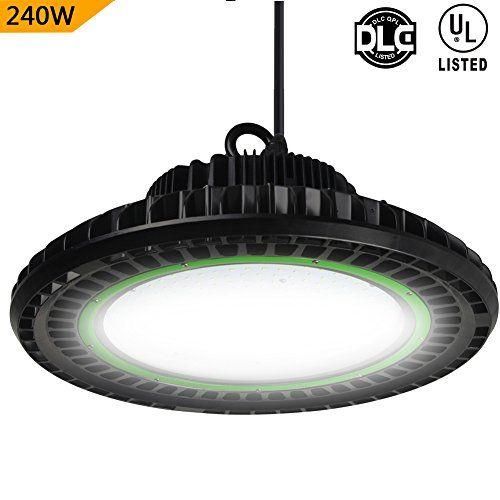 Dephen 240W High Bay LED Lighting 5000K 32400Lumens Dimmable Led Shop Lights UFO High Bay Lighting Fixutre LED Warehouse Lighting with Mounting Bracket (DLC&UL-Listed).