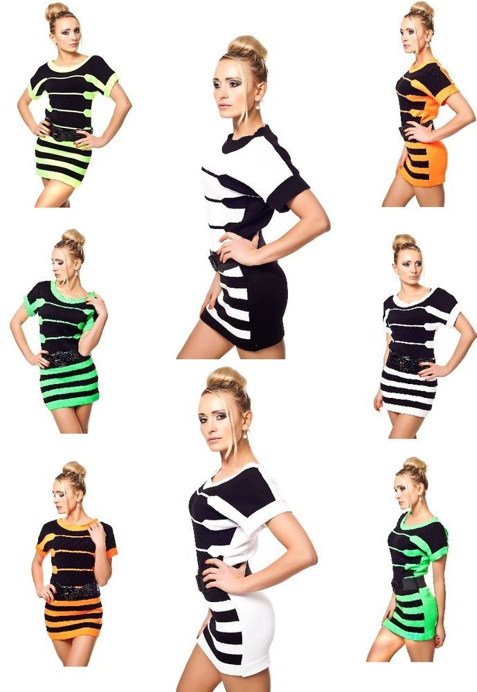 Damen Minikleid Streifen Longpullover,Longshirt,Shirt,Kurzarm Strickkleid 36/38