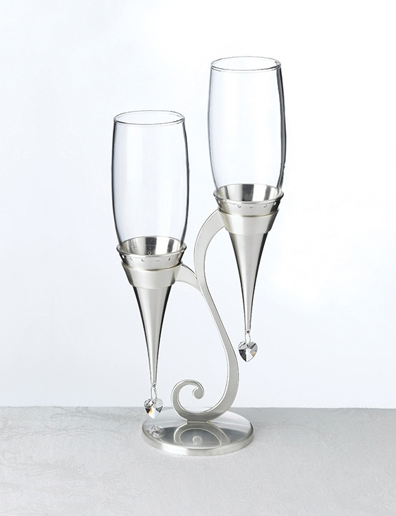 Silver Glass Flutes and Holder Set -Very stylish, I like these