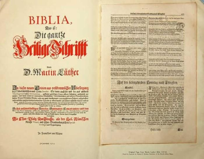 Found on EstateSales.NET: 2 Original Leaves Martin Luther Bible 1574