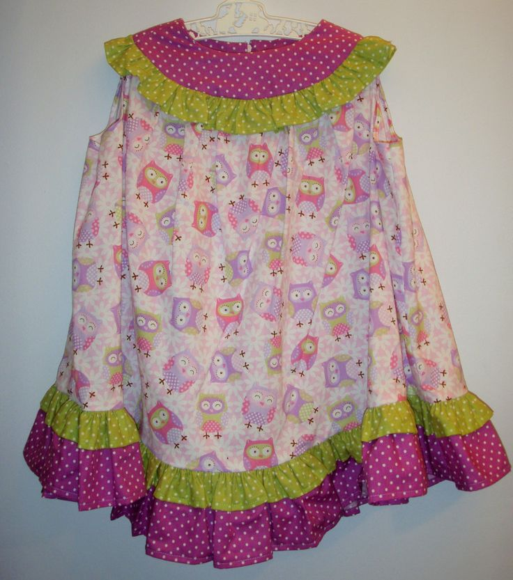 Girl's dress, size 2-3, giggle and hoot, hoot a belle, pretty in pink, owls, summer dress, baby present, birthday present, hand sewn by LittleLarkClothing on Etsy