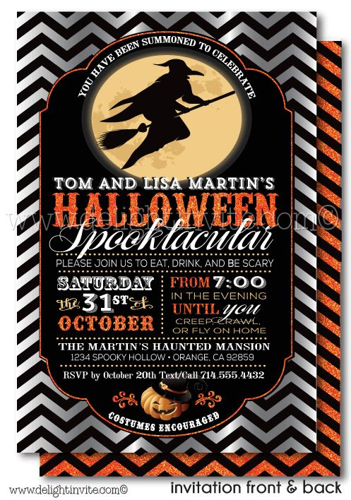 Vintage Adult Halloween Cocktail Party Invitation… (With