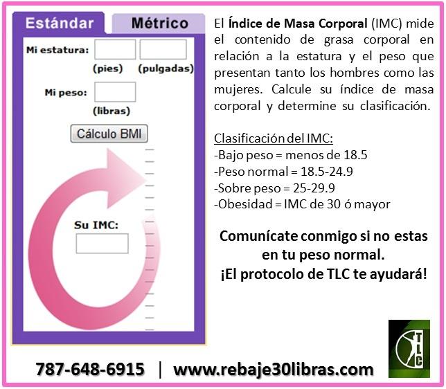 El Índice de Masa Corporal mide el contenido de grasa corporal en relación a la estatura y el peso que presentan los hombres y las mujeres. Calcule su índice de masa corporal utilizando este website http://www.nhlbisupport.com/bmi/sp_bmicalc.htm | Clasificación del IMC:  Bajo peso:<18.5  Peso normal:18.5-24.9  Sobre peso:25-29.9  Obesidad:>30  Comunícate conmigo si no estas en tu peso normal. ¡El protocolo de TLC te ayudará! 787-648-6915 | www.rebaje30libras.com…