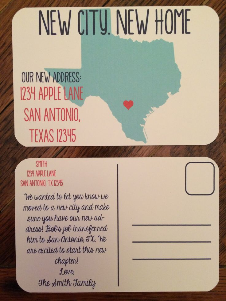 Moving? Let everyone know your new address with these cute post cards! Any state is available! Colors and text are totally customizable. Send as a post card or a flat note in an envelope!