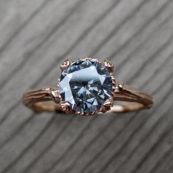 Grey Moissanite Twig Engagement Ring: White, Yellow, or Rose Gold; 1ct; Carved Floral Setting