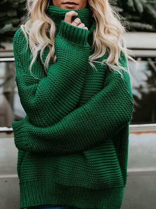 3af2a79f11c063 High-neck Long Sleeves Knitting Sweater Tops | ChicsMall | Sweater ...