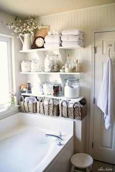 Love The Versatile Shelving For An Organized And Tidy Bathroom! This  Rustic, Coastal Look