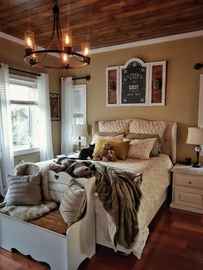 Diy Rustic Wood Plank Ceiling Wood Plank Ceiling Plank Ceiling Rustic Bedroom Decor