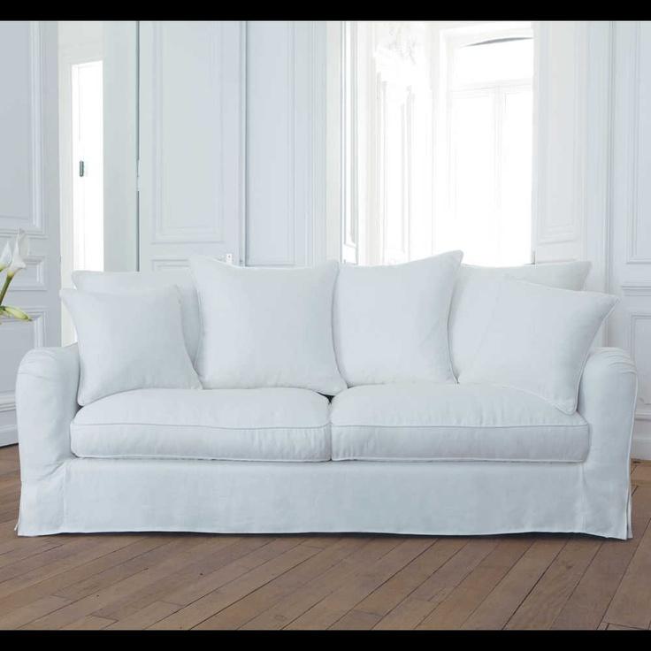 Divano lino bianco a 3 posti Bovary