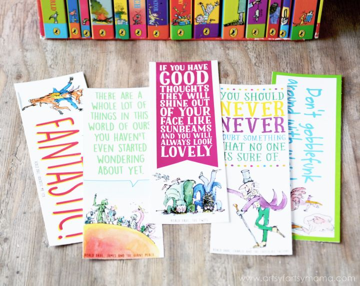 Free Printable Roald Dahl Bookmarks at artsyfartsymama.com