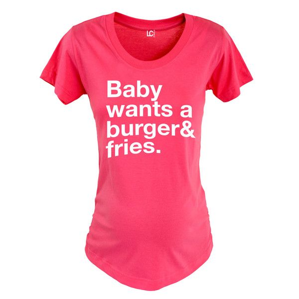 Baby Wants Burger Fries Maternity Tee. Funny maternity shirts and maternity clothes all in the Kidteez Maternity Shop. #maternity #pregnancy