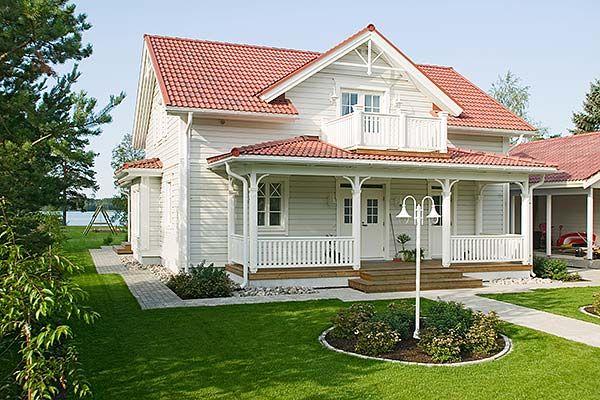 Hus med amerikansk veranda