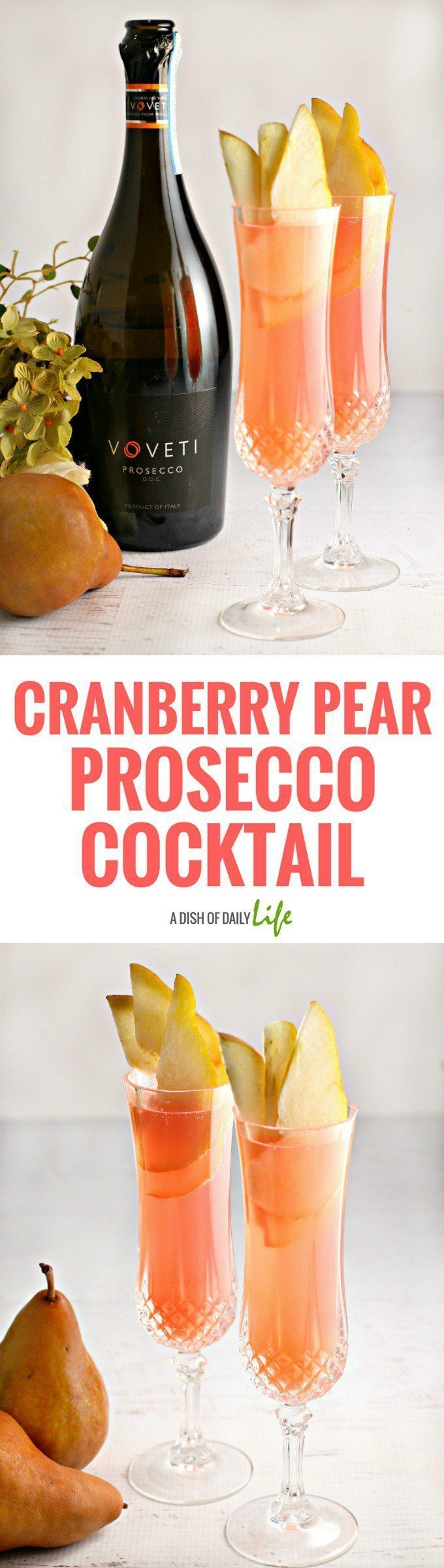 This Cranberry Pear Prosecco cocktail recipe is amazingly refreshing with a delicate fizz - an easy spring cocktail that you can make in just 5 minutes! It's perfect for your Easter dinner, Mother's Day brunch, wedding and baby showers, or any other sprin