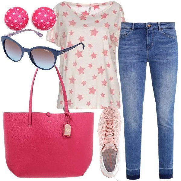 Un+look+casual,+per+tutti+i+giorni,+caratterizzato+da+un+jeans,+modello+slim+fit,+a+vita+normale,+lunghezza+alla+caviglia+e+da+una+t-shirt+bianca,+con+stampa+a+stelle,+manica+corta+e+scollo+tondo.+Ho+abbinato+un+paio+di+sneakers+basse,+a+punta+tonda,+con+lacci,+una+shopping+bag+Ralph+Lauren+in+fintapelle,+un+paio+di+orecchini+al+lobo,+in+tessuto,+con+stampa+a+pois+e,+per+finire,+un+paio+di+occhiali+da+sole+con+montatura+blu.