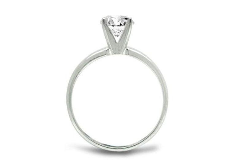 Diamond Studs Forever - Anillo compromiso diamante solitario de 1/2 quilates GH/I1-I2 oro blanco 14K