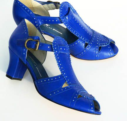Remix Vintage Shoes, Emily 20s/30s-Style T-Straps in Ultramar Blue