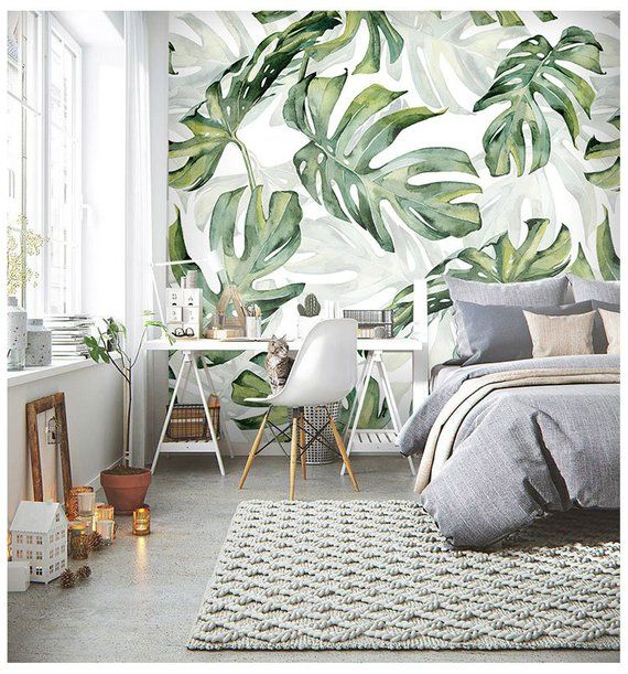 Rainforest Tropical Green Leaves Wallpaper Wall Murals