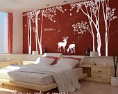 Tree Wall Art Example graphic-lovely tree with monkeys. $78.00, via Etsy.