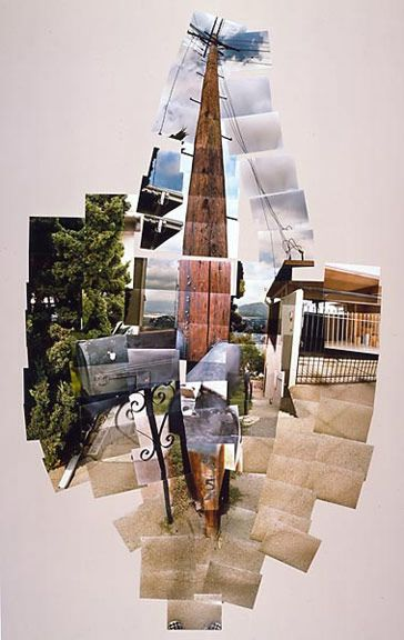 David Hockney, Telephone Pole, 1982. ////////// This photo uses elements such as color, value, and space. Principles include rhythm, movement, emphasis, and balance. This photographic collage is made up of pictures the artist took of an outside scene. There's a lot of different elements to look at in the piece. Some are easy to see, and some aren't so easy to figure out what exactly the object is. I'm not a big fan of this artwork because although it looks cool, it's kind of confusing. To…