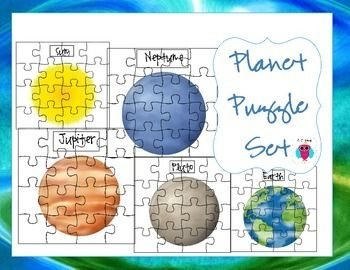 This is a set of 9 Solar System puzzles with labeled names.