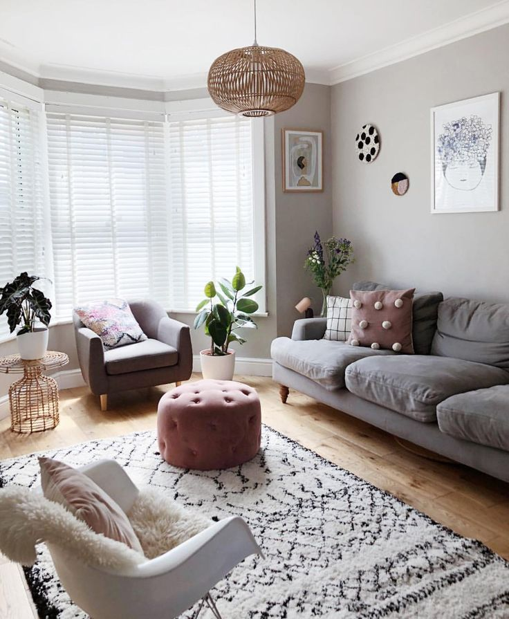 Scandi style living room in farrow & ball pavilion gray and that La Redoute Berb