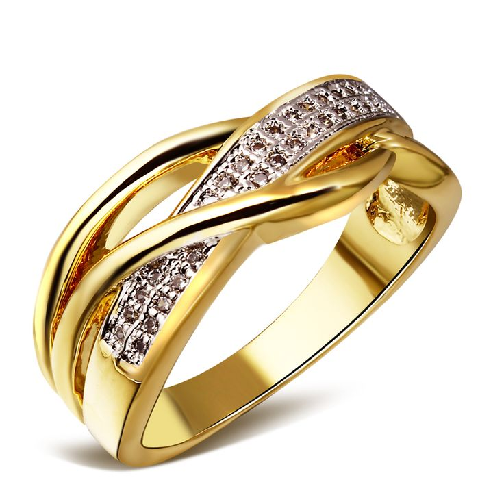 Amazing  tone plating wedding ring fine jewelry fashion rings for women Cubic Zirconia gold u Platinum Plated Top quality China Mainland