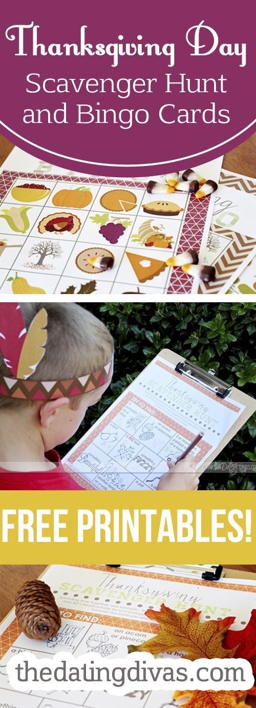 Need to print these bingo cards and scavenger hunt for Thanksgiving-they'll be perfect to keep the kiddos entertained.