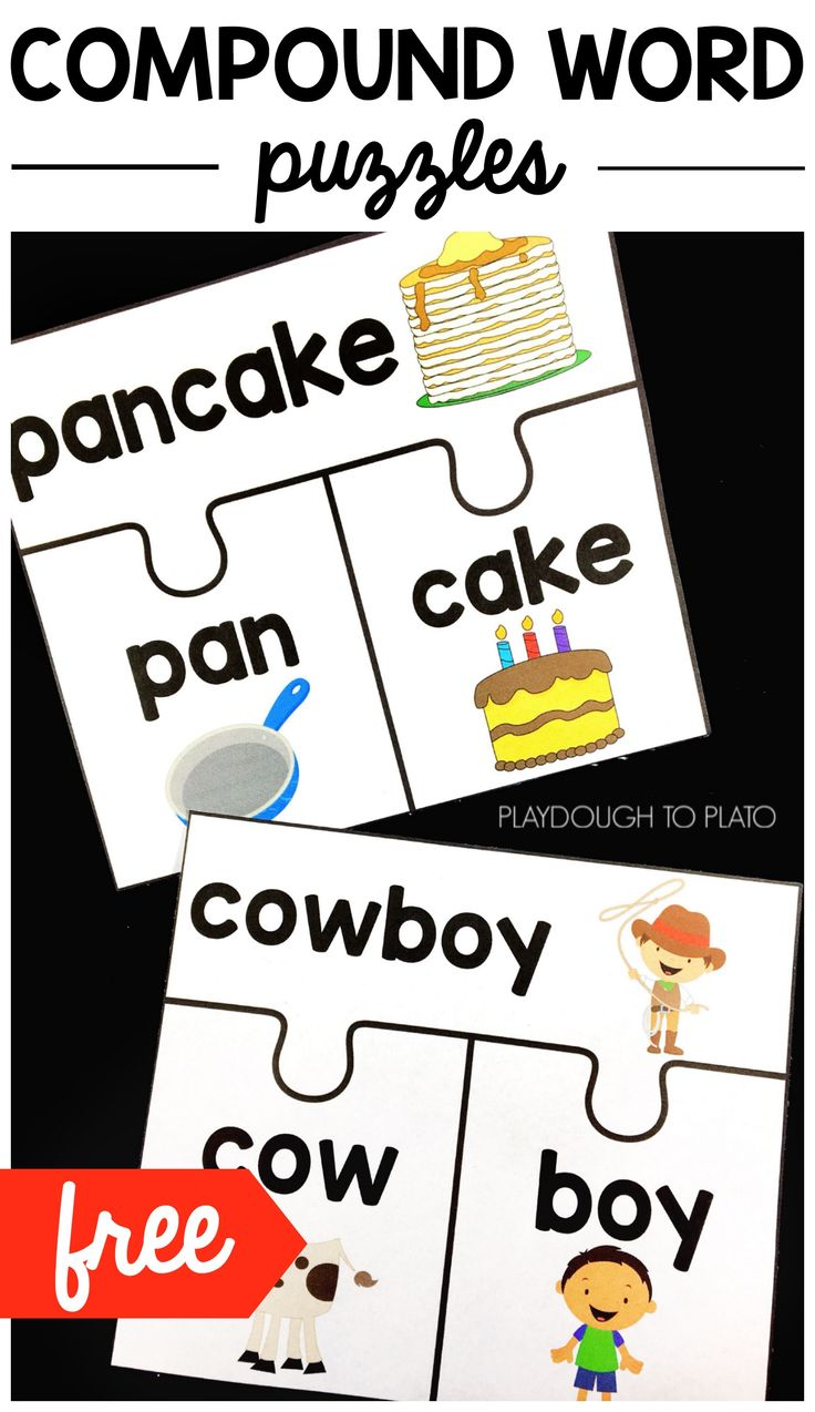 FREE Compound Word Puzzles! An must have literacy centers with kindergarten and first grade kids. A great way to teach this tricky reading concept. #literacyfreebies #readingfreebies #playdoughtoplato #freeprintables