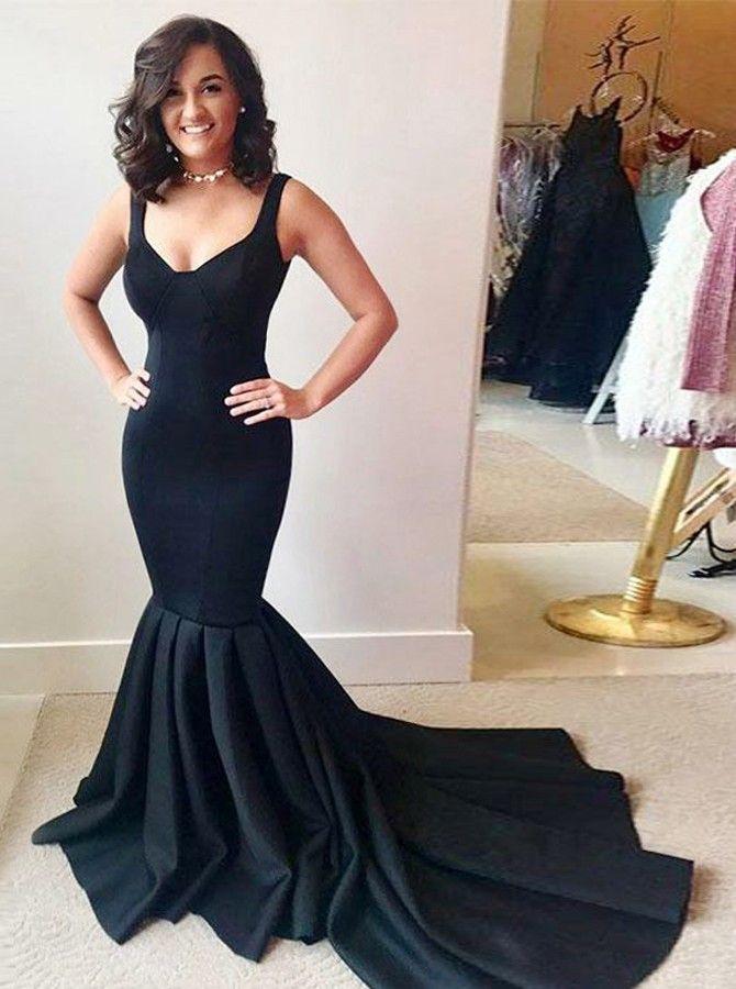 Mermaid Scoop Neck Sleeveless Black Stretch Satin Prom Dress In 2019