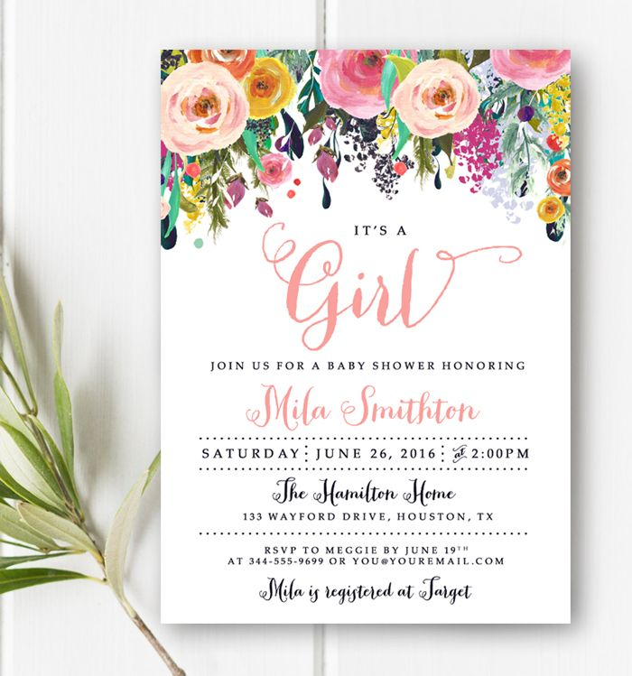 Custom Baby Shower Invitation Watercolor Flowers It's A Girl Printable