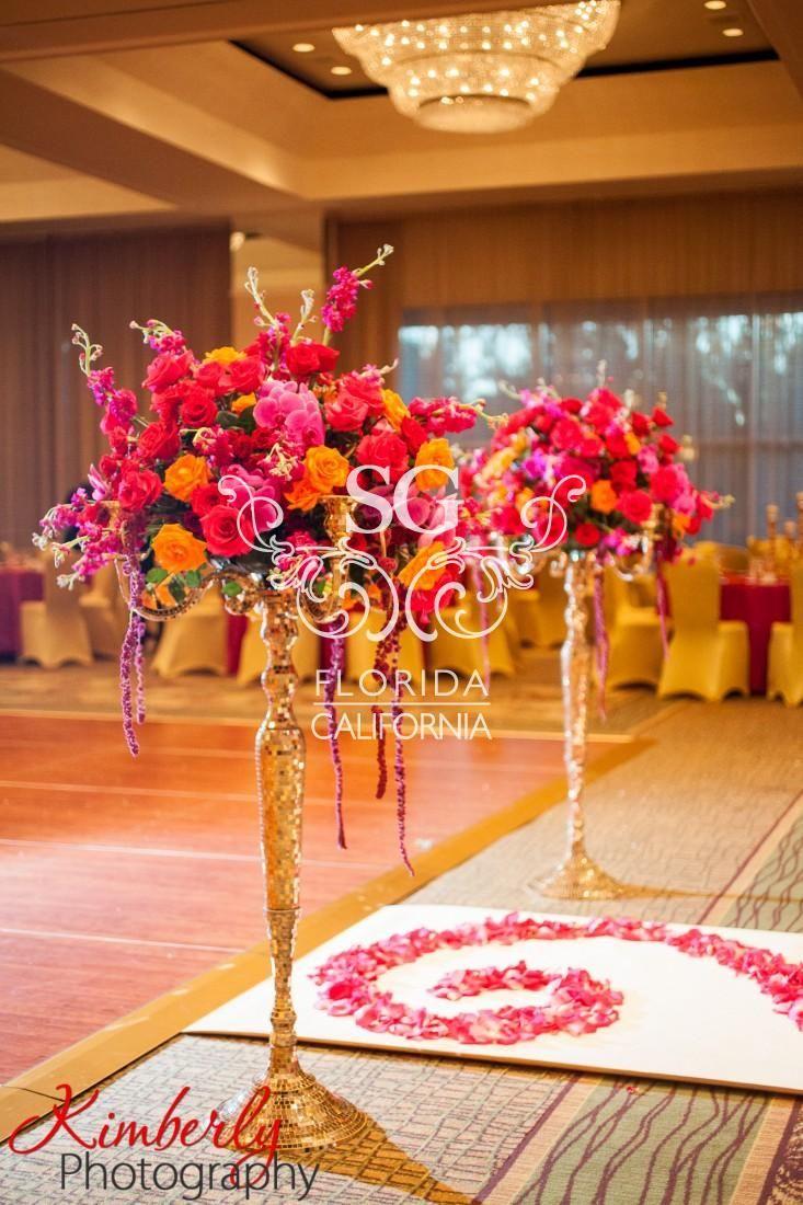 Suhaag Garden Indian Wedding Decorators, California Indian Wedding Decorators, San Fransisco Indian Wedding Decorators, Gold Branches, Orange and White Flowers, Indian Wedding, Outdoor Indian Wedding, Luxury Indian Wedding, Aisle Decor, Elaborate Aisle Decor