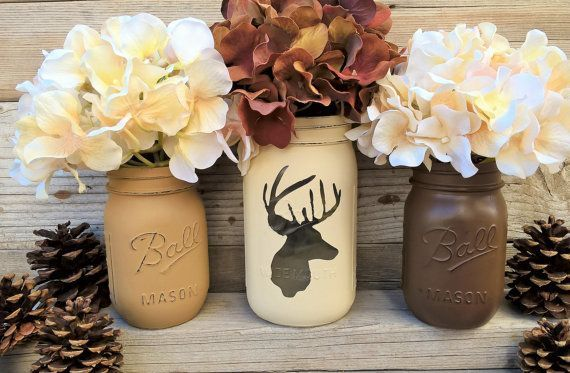 Deer Decor,Gift,Rustic Home Decor, Christmas Gift, Cabin Decor, Painted Mason Jars, Mantle Decor,Outdoorsy, Rustic Lodge Decor, Brown, Cream