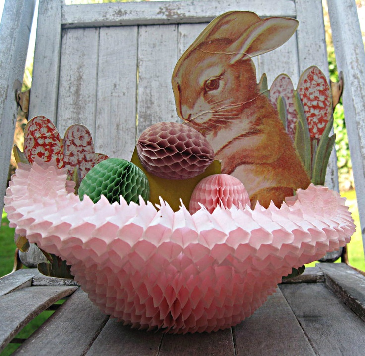 Vintage Easter Bunny Decor Honeycomb Basket With Eggs And Bunny