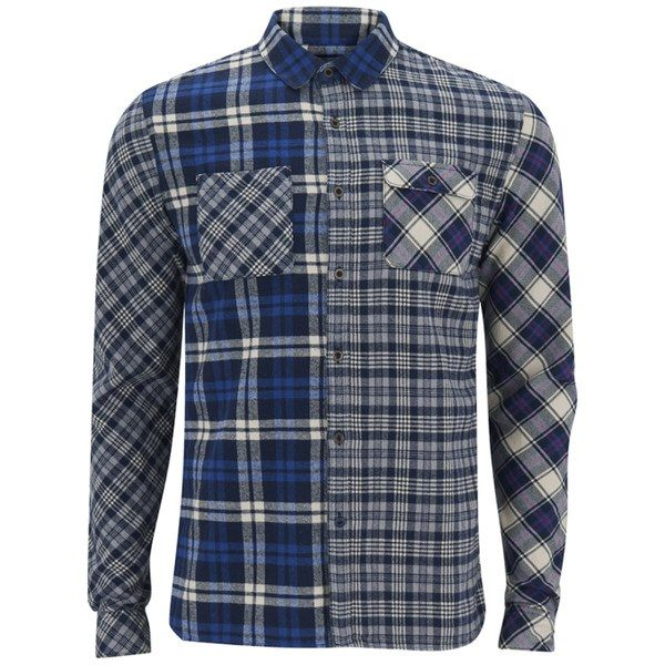 Scotch & Soda Men's Cut and Sew Long Sleeve Checked Shirt- Blue: Image 01