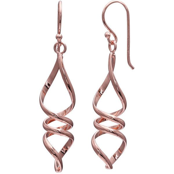 Primrose Sterling Silver Twist Drop Earrings ($28) ❤ liked on Polyvore featuring jewelry, earrings, pink, sterling silver fish hook earrings, fish hook earrings, sterling silver jewellery, pink jewelry and fish hook jewelry