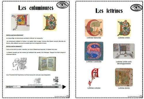 Enluminures et lettrines, moyen age, arts visuels