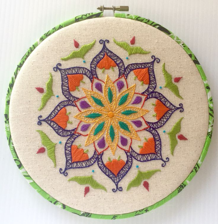 Mandala Hand Embroidered Hoop Art~ More pics & description at CapriciousArts.com FYI: I will be picking the giveaway winners in just 2 days! There is still time to enter. Just sign up for my newsletter on my website and that will automatically enter you for the giveaway! That's it! #embroidery #embroideryhoop #hoopart #handembroidered #mandala #wallart #whimsical #CapriciousArts